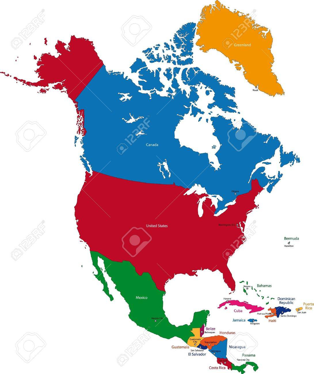 Colorful North America Map With Countries And Capital Cities Royalty Free Cliparts Vectors And Stock Illustration Image 21687880