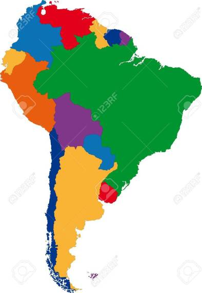 Colorful South America Map With Country Borders Royalty Free     Colorful South America map with country borders Stock Vector   21801448