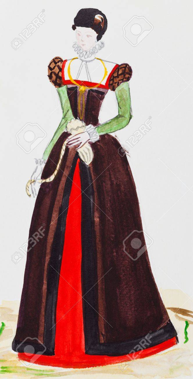 costume historique costume femme de ville a paris france a la fin du 16eme siecle