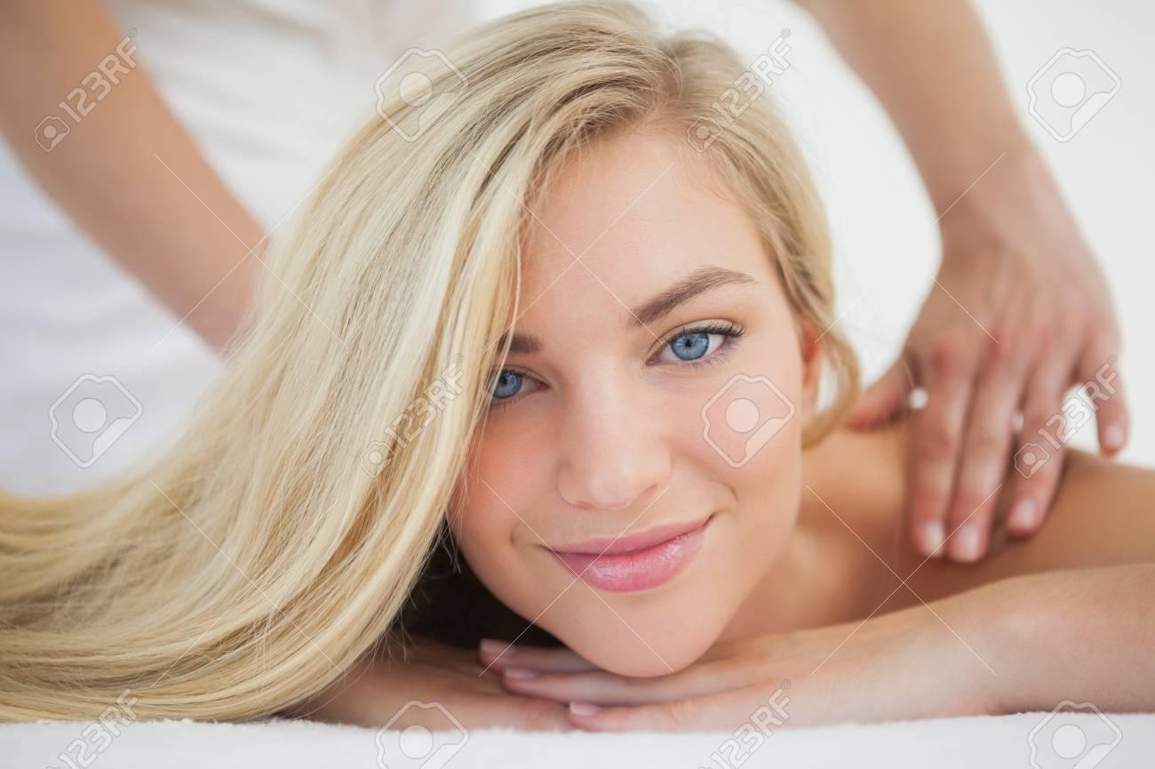 Beautiful Blonde Enjoying A Massage At The Health Spa Stock Photo 30914545