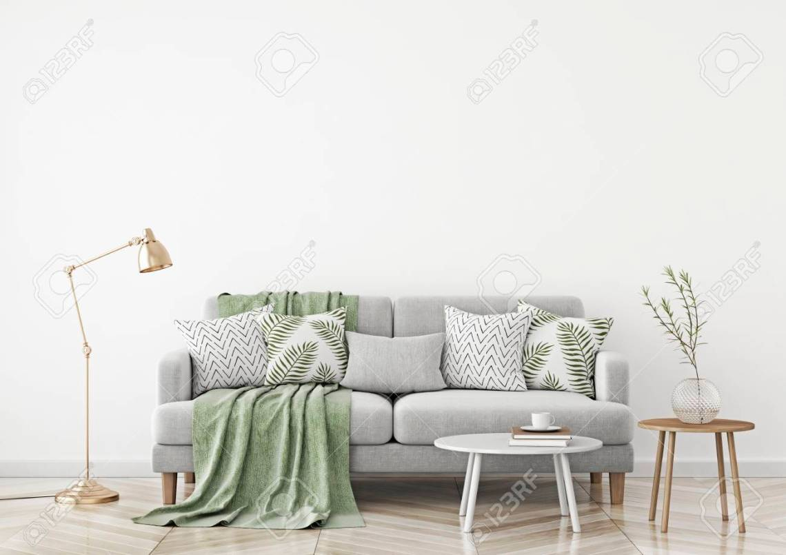 Scandinavian Style Living Room With Fabric Sofa Pillows Plaid Stock Photo Picture And Royalty Free Image Image 100744439