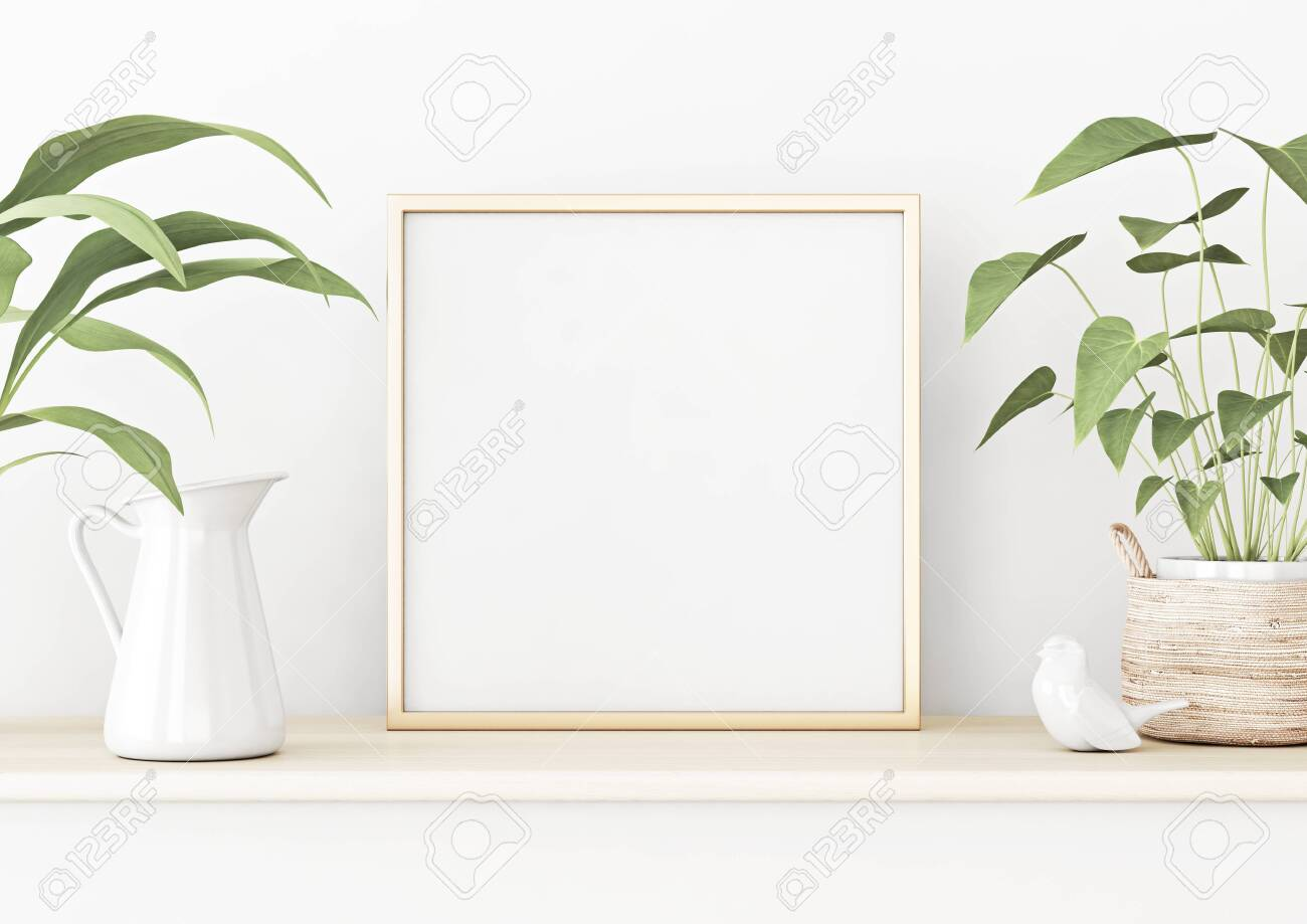 square poster mockup with golden metal frame standing on wooden