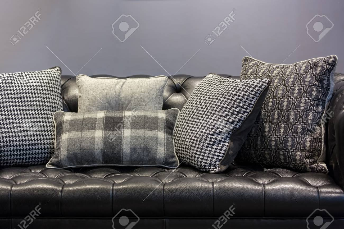 Vintage Style Black Leather Sofa And Pillows In A Gray Living Stock Photo Picture And Royalty Free Image Image 71408492