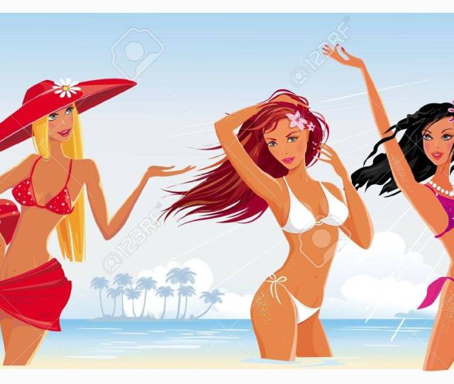 Beautiful Sexy Girls On The Beach Stock Vector 9626433