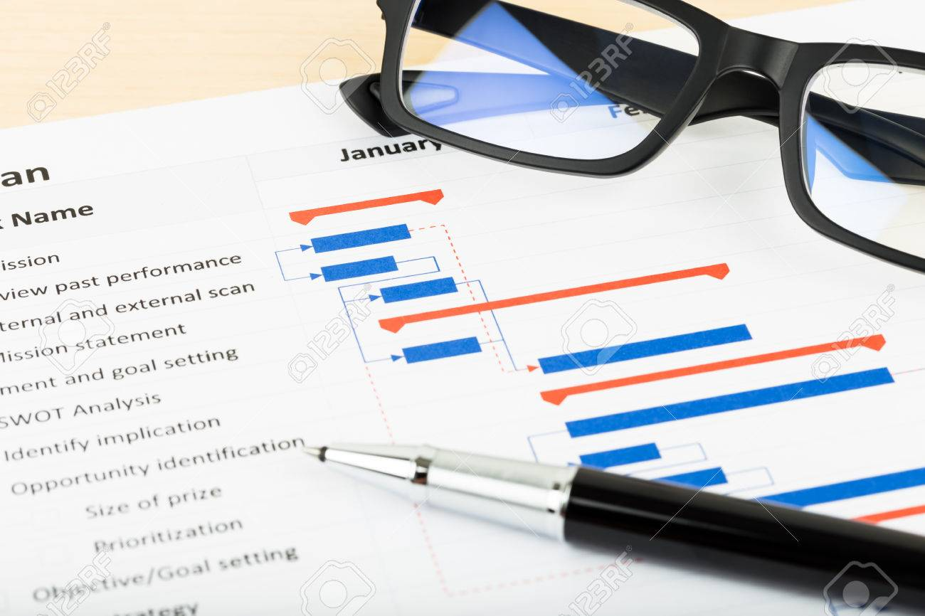 Project Management And Gantt Chart With Glasses And Pen Stock Photo     Project management and gantt chart with glasses and pen Stock Photo    47966176