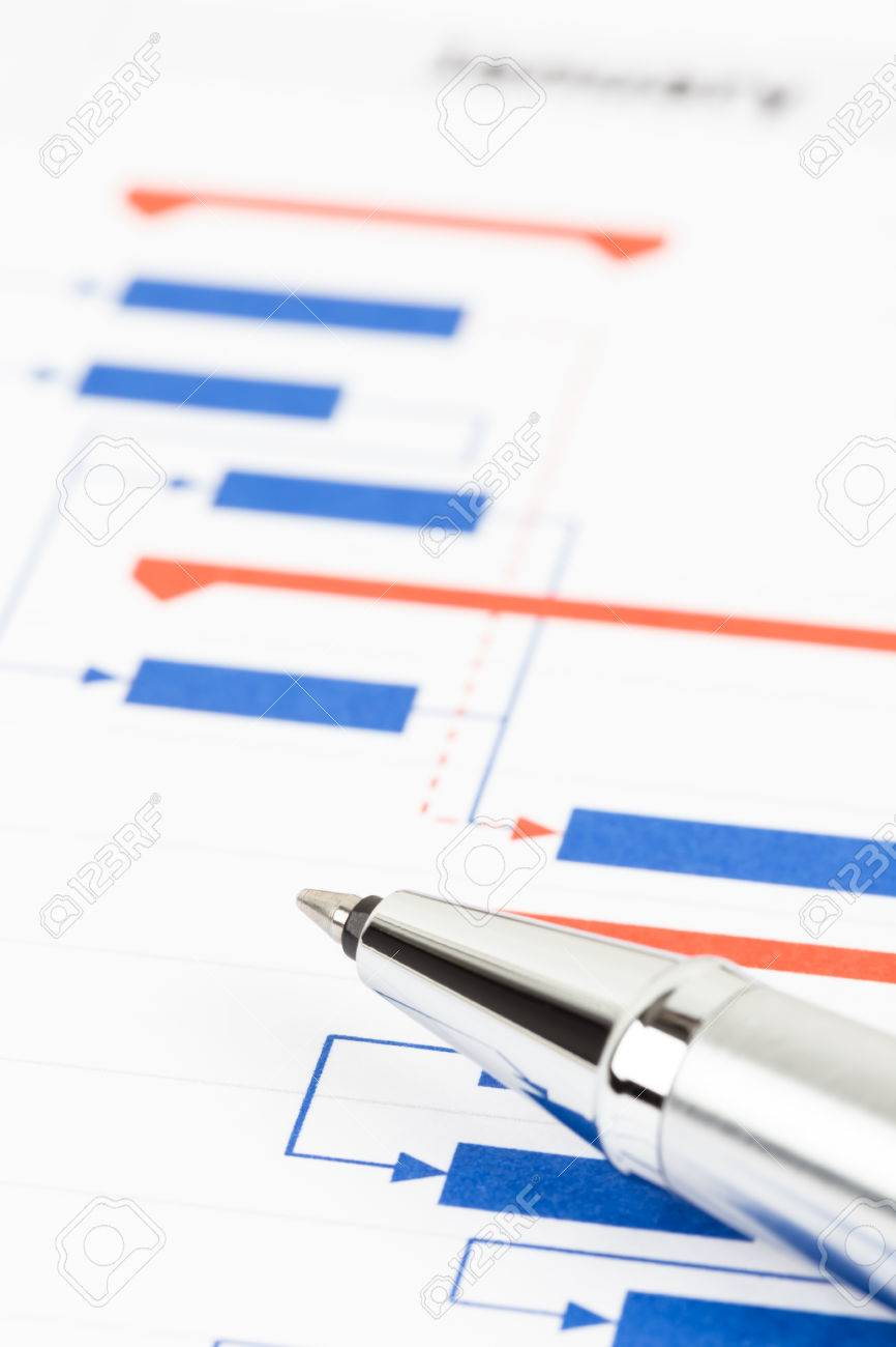 Project Management And Gantt Chart With Pen Stock Photo  Picture And     Project management and gantt chart with pen Stock Photo   47969150
