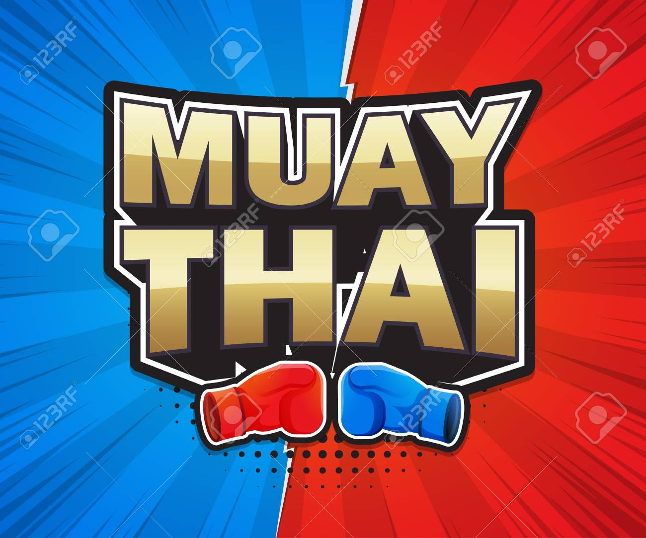 muay thai poster speech label banner design vector illustration