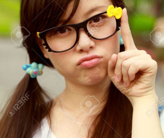 Cute Glasses Chinese Girl Stock Photo 34936714