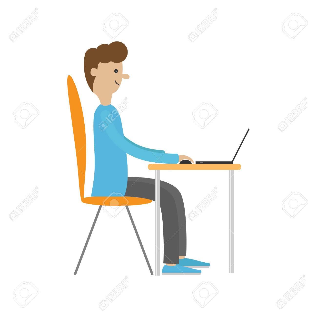 profil homme au bureau avec leptop guy travaillant sur l ordinateur boy assis sur une chaise a table travailleur de bureau personnage de dessin