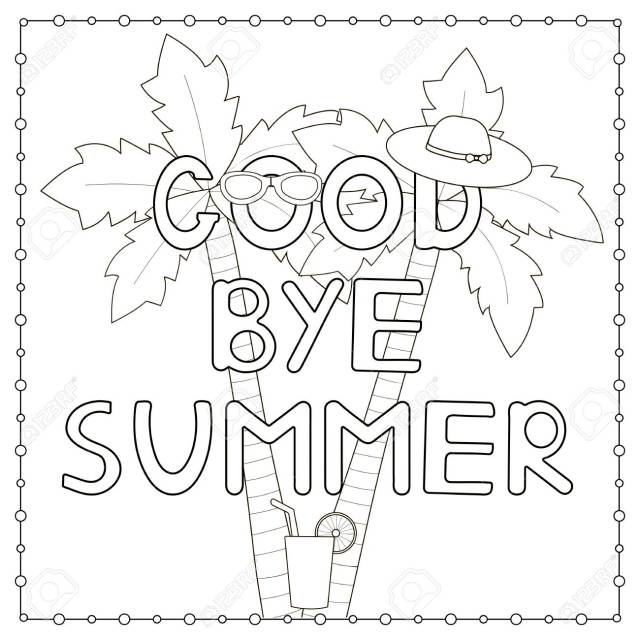 """Coloring Page With Hand Drawn Text """"Goodbye Summer"""", Palms, Hat"""