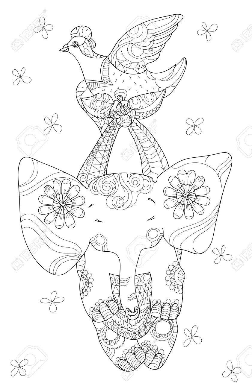 petit elephant mignon noir et blanc style de tatouage tribal totem tire par la main artwork baby graphique elephant nouveau ne avec doodle