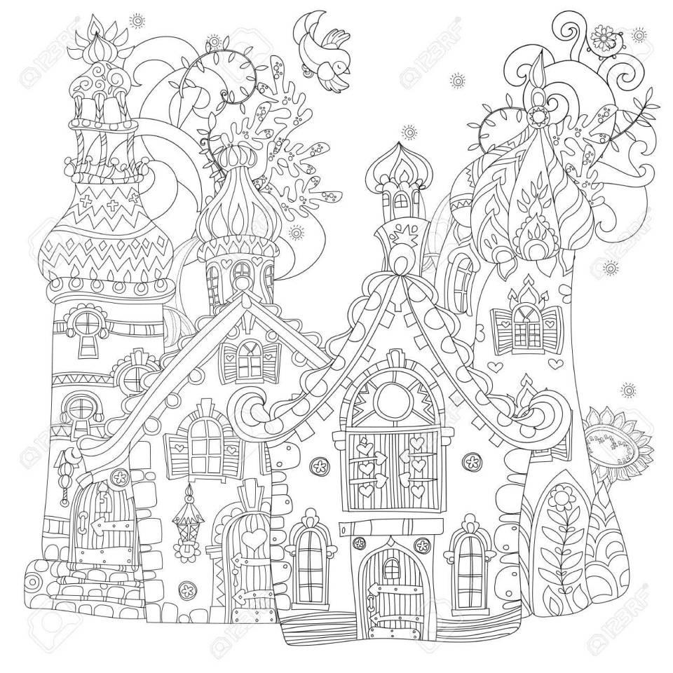 かわいいおとぎ話町の落書きイラスト。はがき印刷や大人の塗り絵を