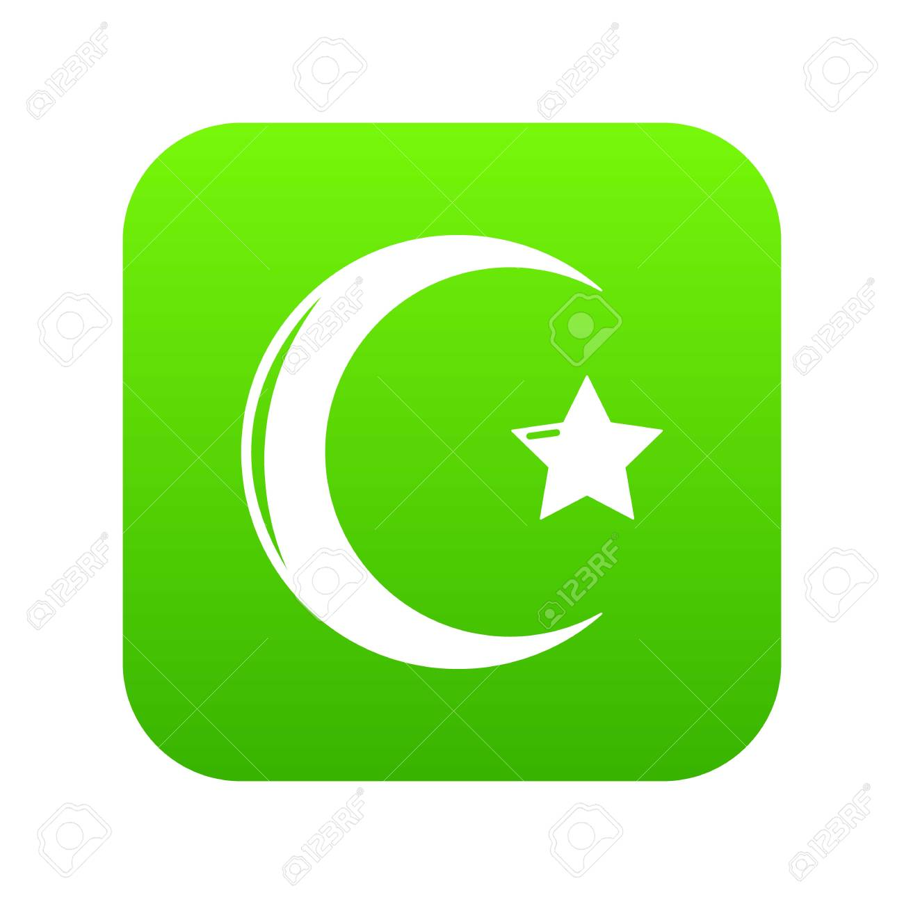 Star Crescent Symbol Islam Icon Green Vector Royalty Free Cliparts Vectors And Stock Illustration Image 112235633