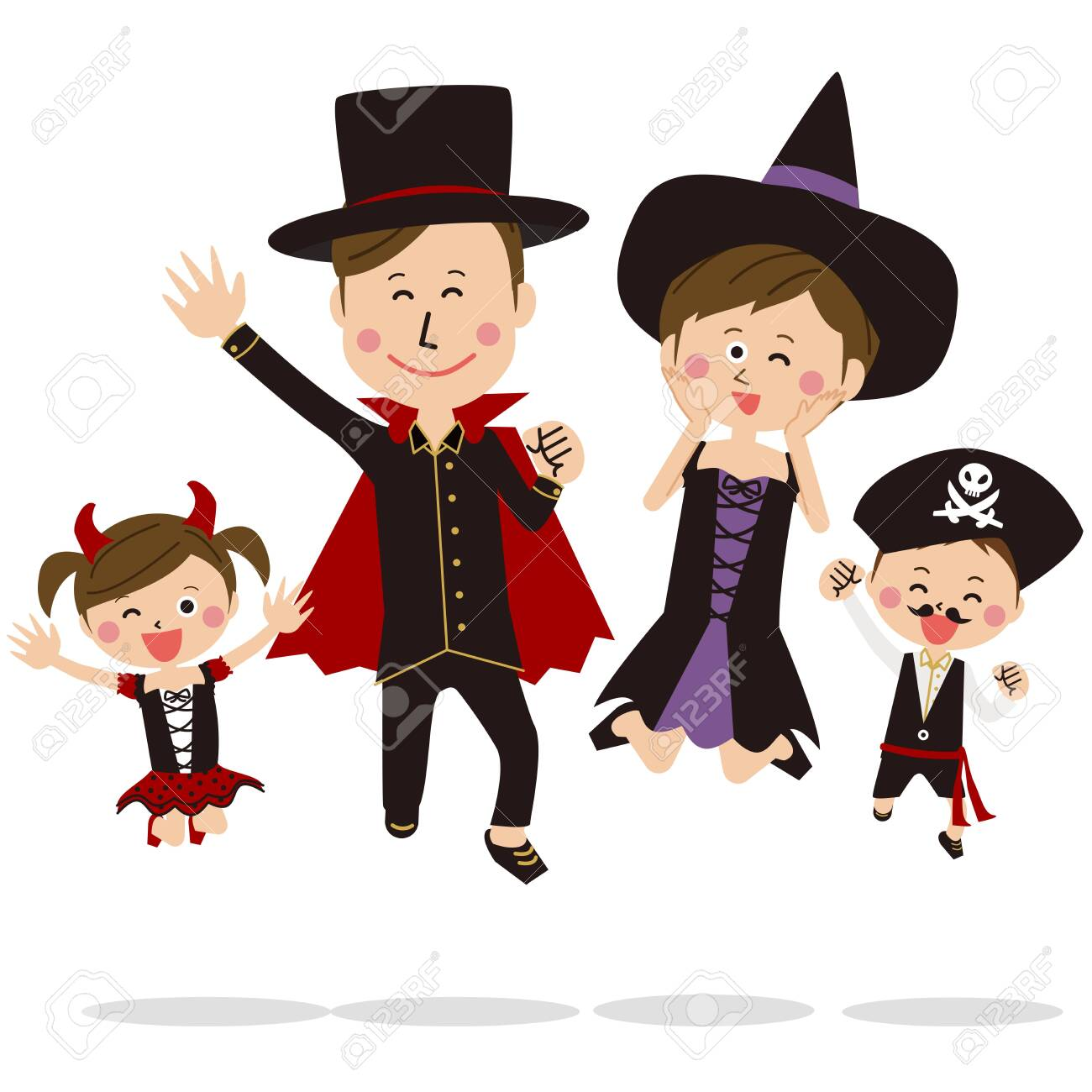 Pop Family Wearing Halloween Costumes And Jumping Fine Royalty Free Cliparts Vectors And Stock Illustration Image 128475994