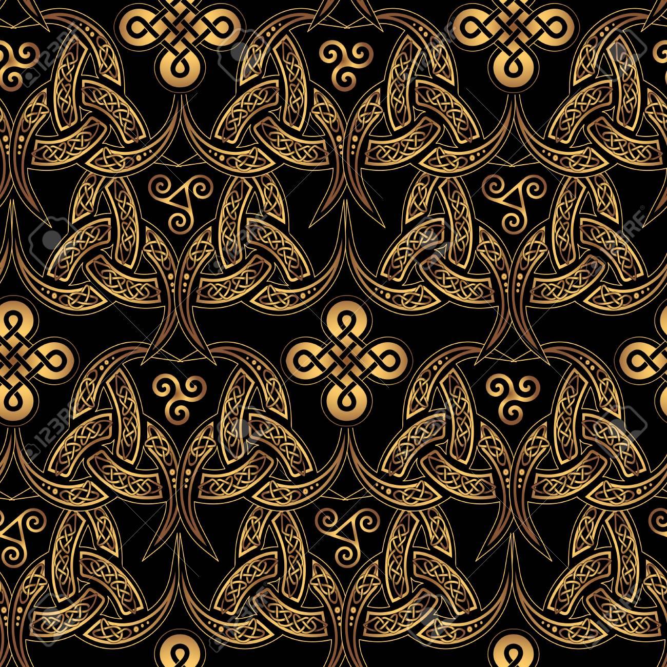 fond d ecran sans couture celtique scandinave elegants motifs ethniques dores de druides sur un fond noir
