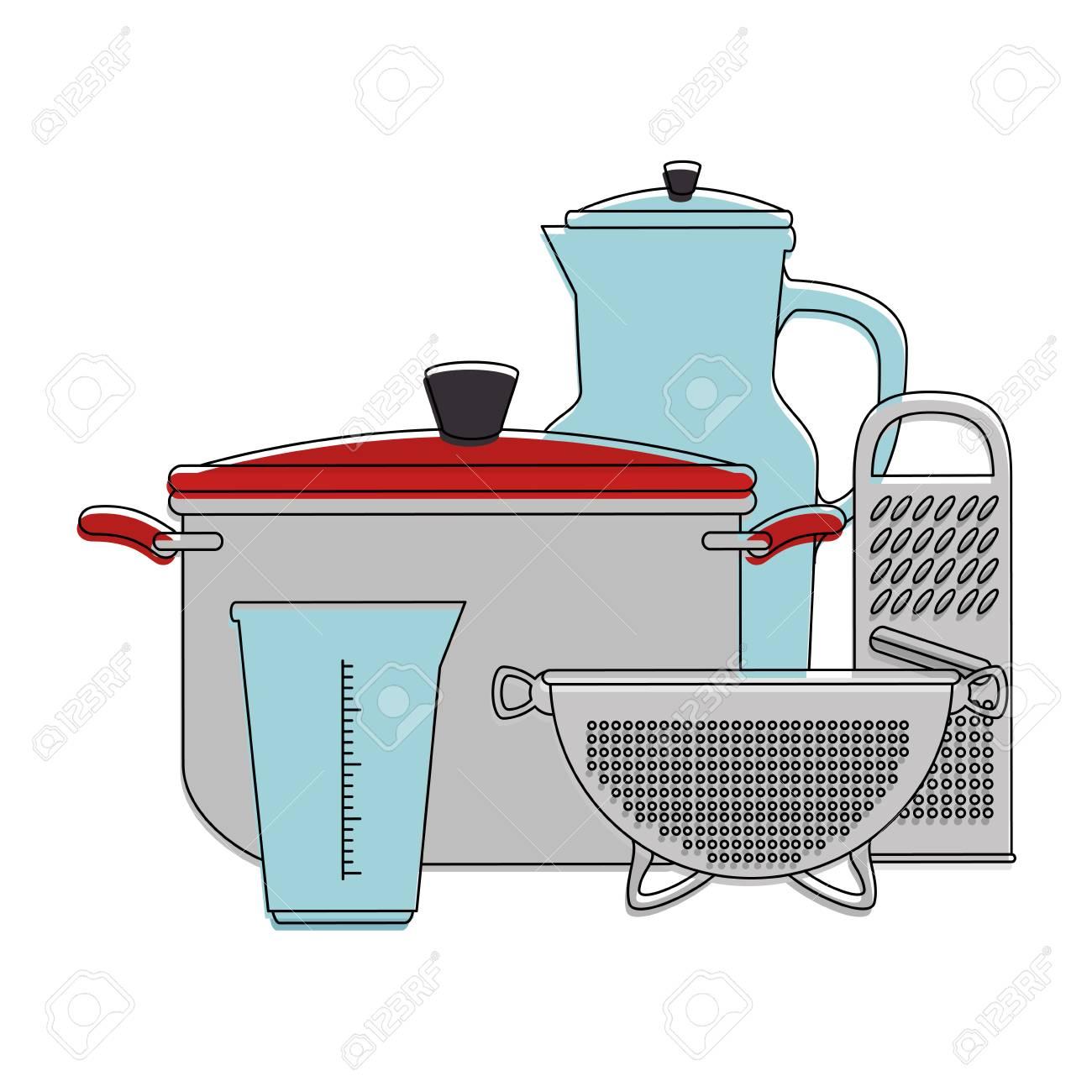 banque d images ensemble de recipients de cuisine vector illustration design