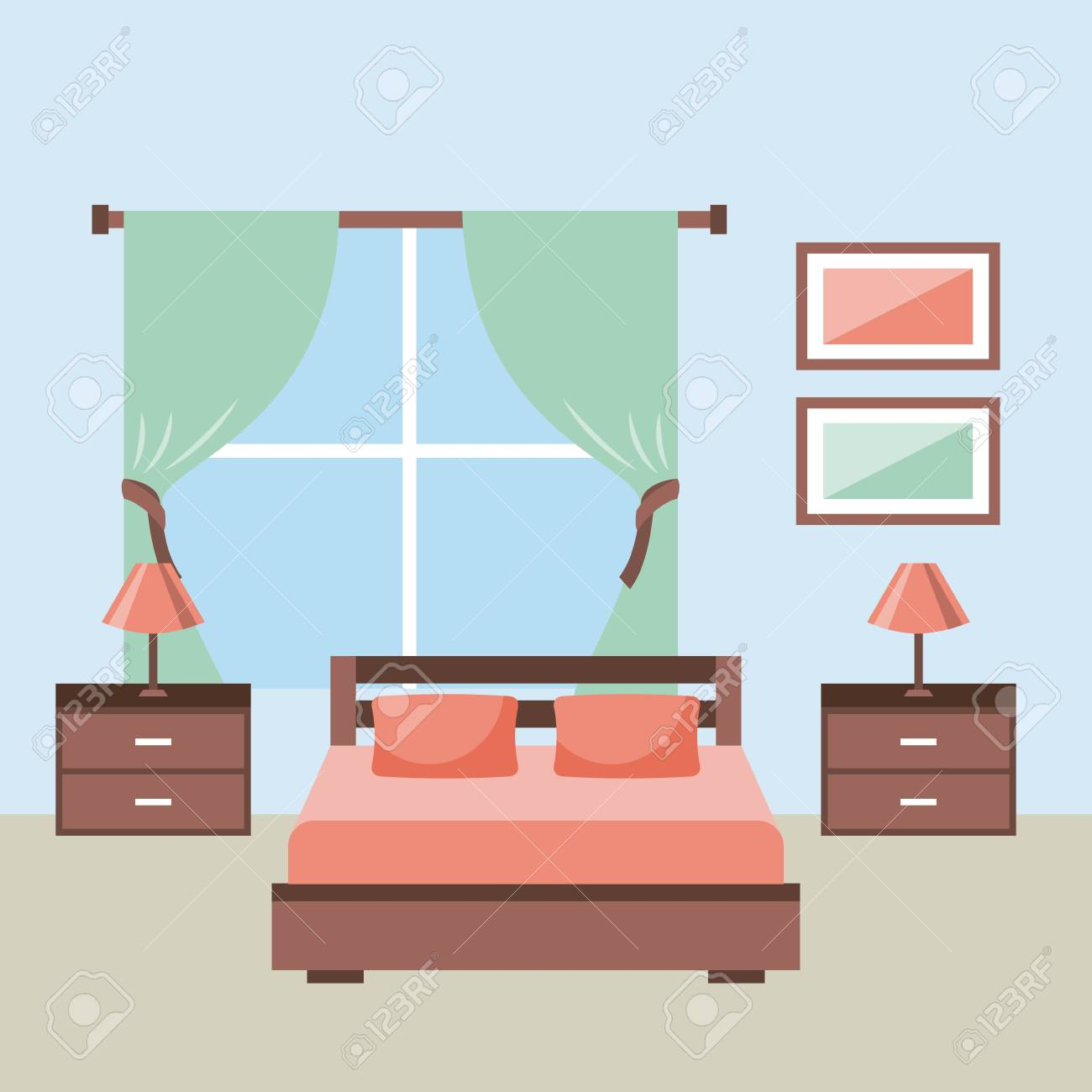 Bedroom Interior With Furniture Bedside Table Lamp Frame Window Royalty Free Cliparts Vectors And Stock Illustration Image 85621652
