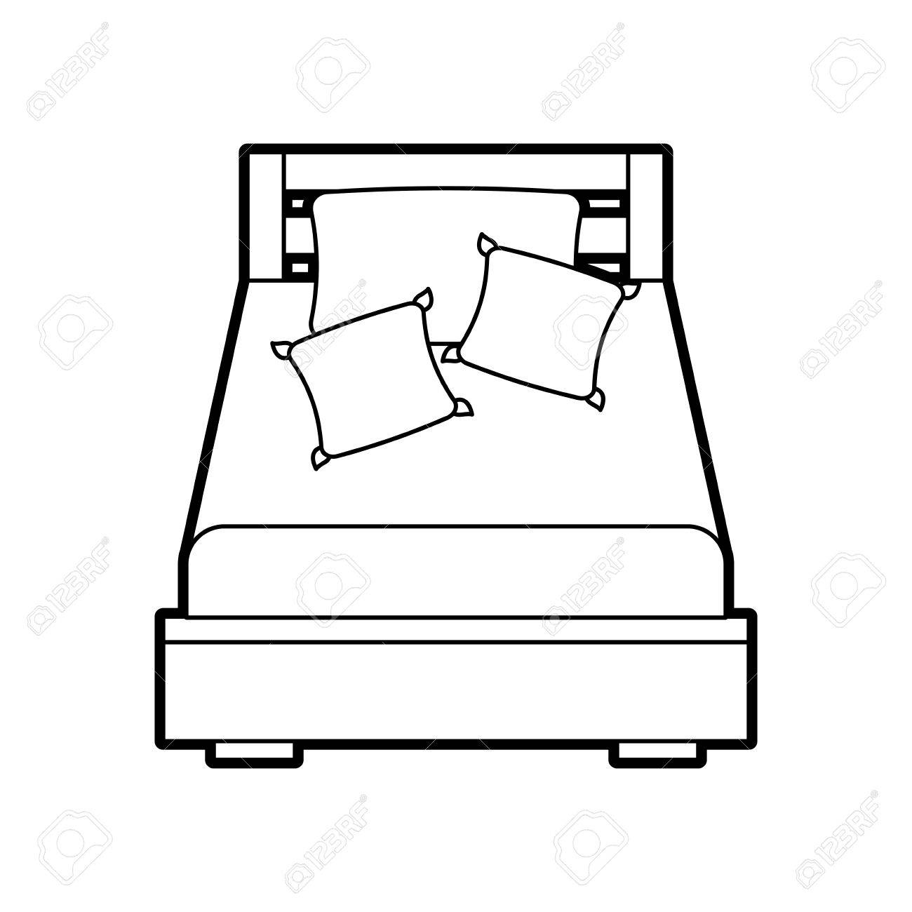 wooden bed with pillow blanket furniture room vector illustration