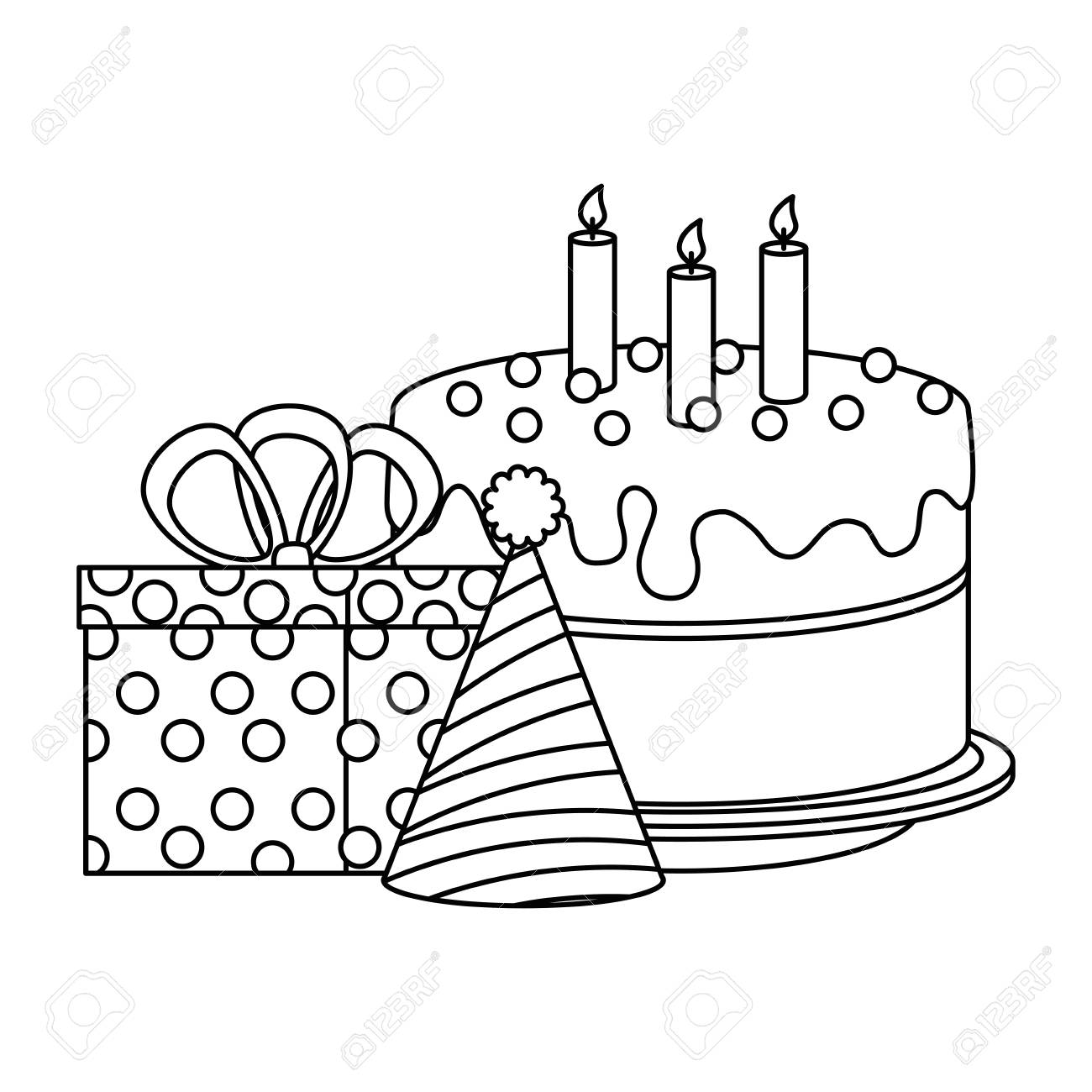 Delicious Cake With Gifts Presents And Hat Vector Illustration Royalty Free Cliparts Vectors And Stock Illustration Image 103375722