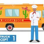 Flat Design Vector Illustration Of Food Truck And Cook Head Royalty Free Cliparts Vectors And Stock Illustration Image 100326073