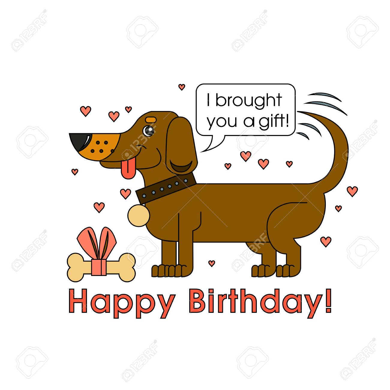 Happy Birthday Card For Dog Lover Happy Dog Of The Breed Of Royalty Free Cliparts Vectors And Stock Illustration Image 103046862