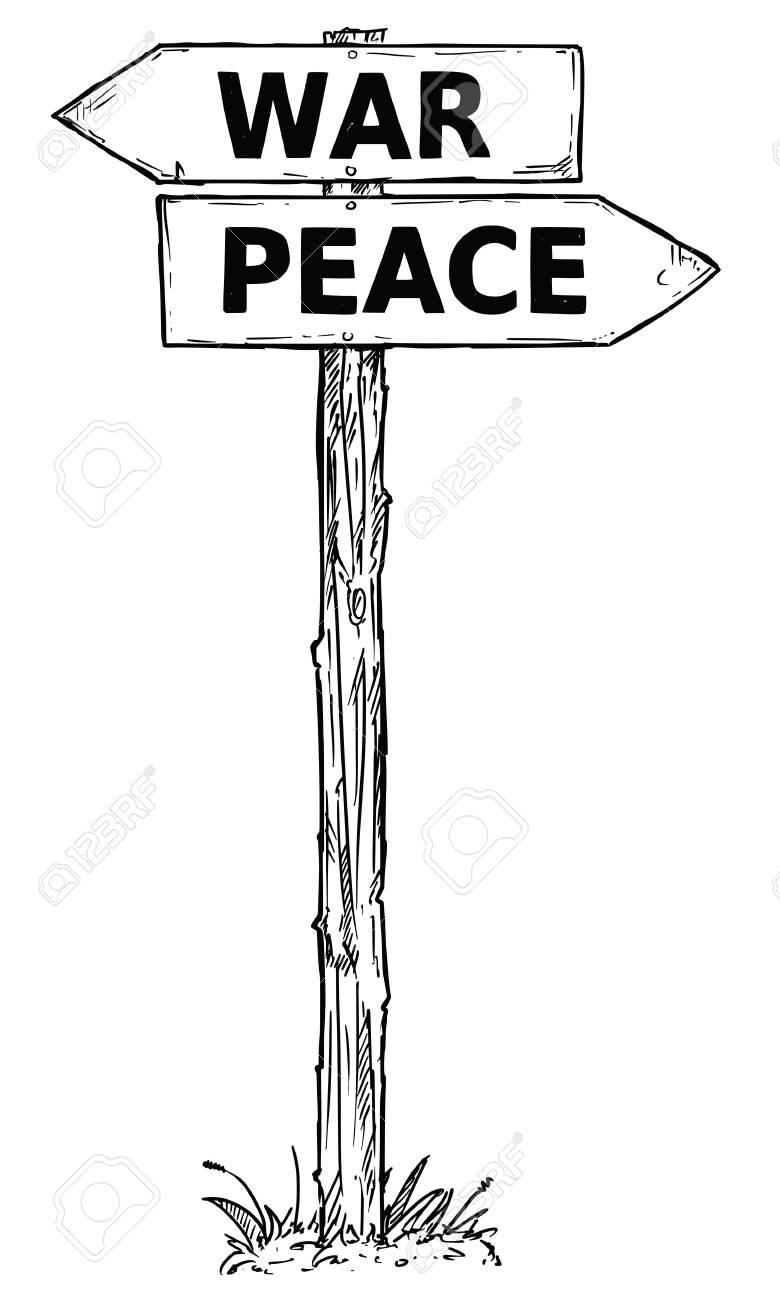 caricature de vecteur doodle signe de direction en bois carrefour dessine a la main avec deux fleches pointant vers la gauche et la droite comme guide de decision de guerre ou de