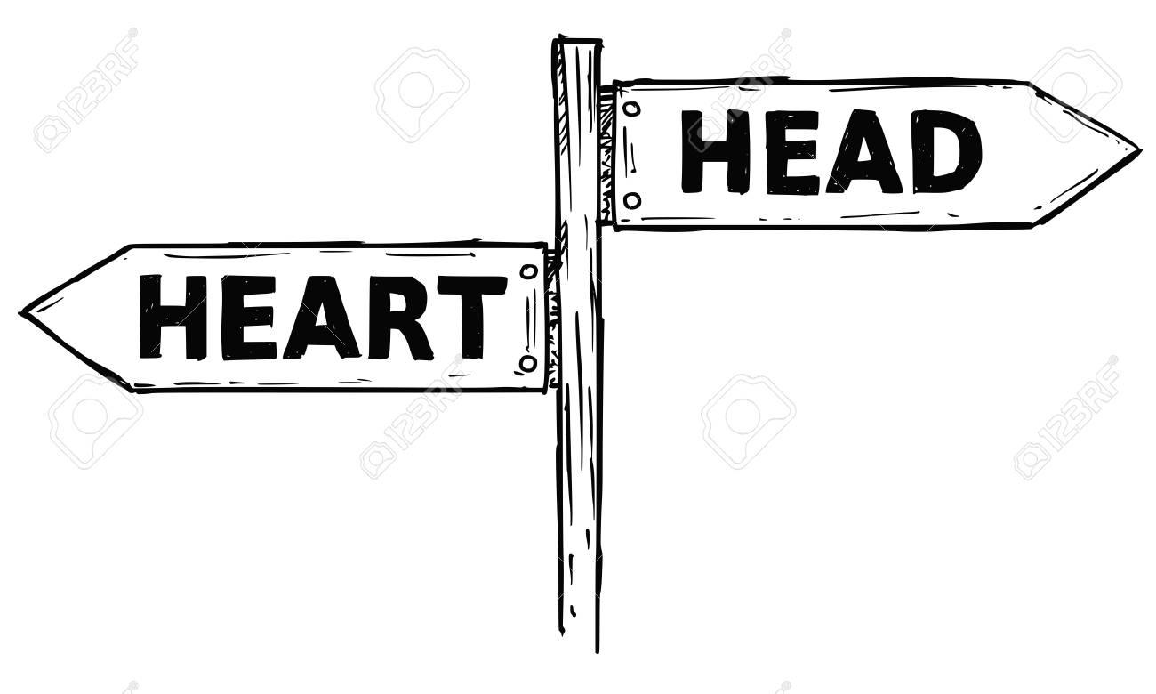 caricature de vecteur doodle signe de direction en bois carrefour dessine avec deux fleches pointant a gauche et a droite comme guide de decision tete ou coeur clip art libres de droits