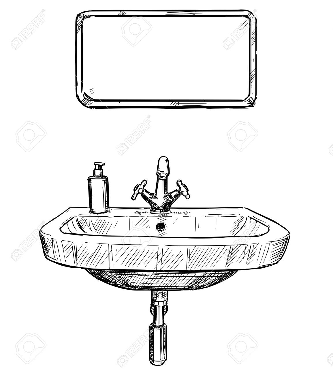 hand drawing illustration of sink and mirror in bathroom