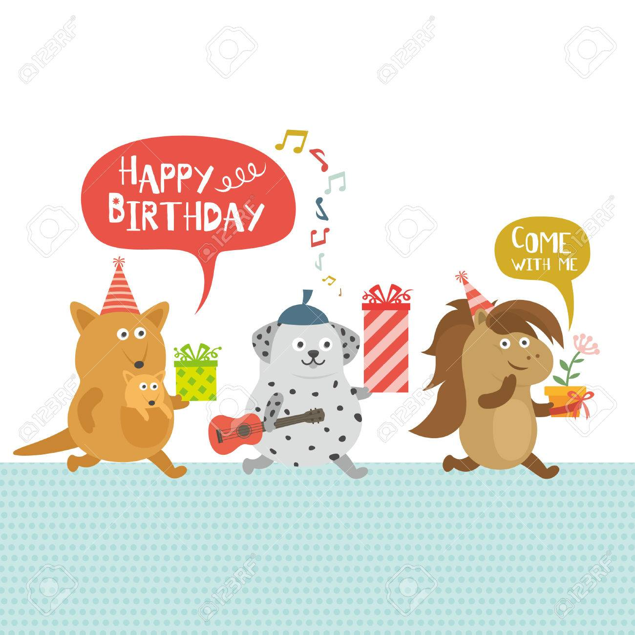Birthday Party Kangaroo And Dog And Horse Royalty Free Cliparts Vectors And Stock Illustration Image 41960171