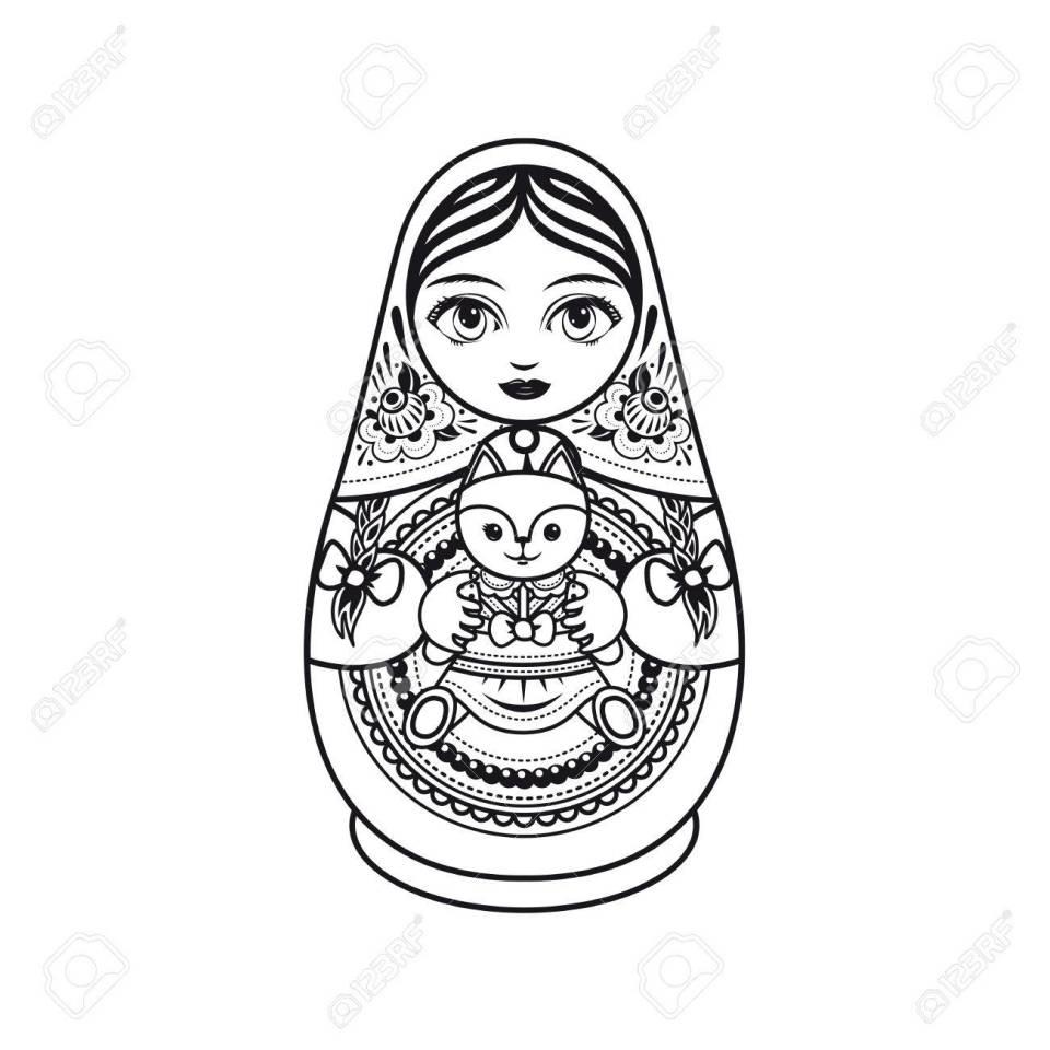 マトリョーシカ。ロシアの民俗の入れ子人形。おばあさんの人形。塗り絵のテンプレートです。モノクロ。黒と