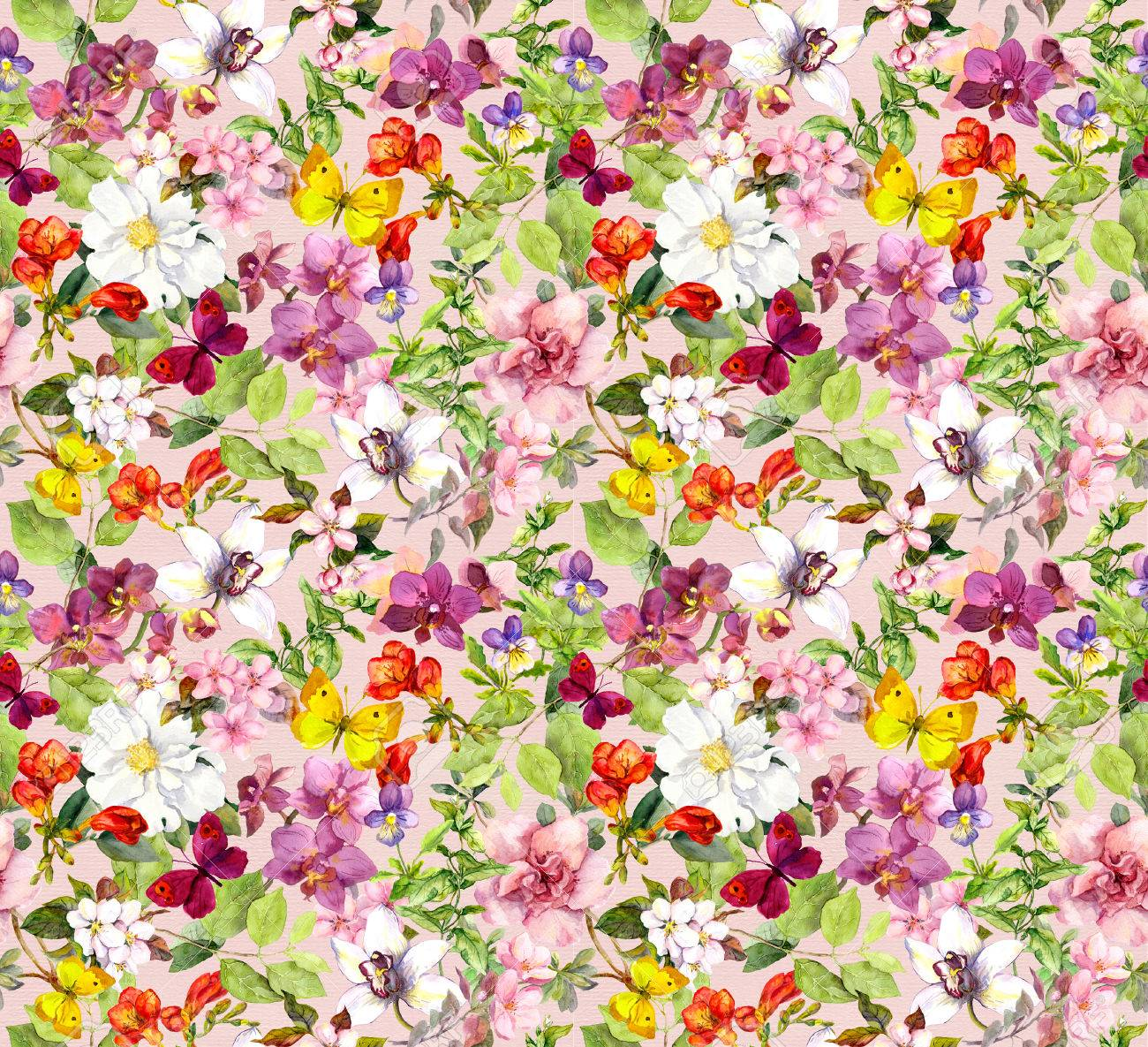 Bright Flowers And Butterflies Colorful Garden Floral Wallpaper Stock Photo Picture And Royalty Free Image Image 45666896