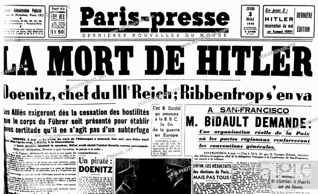 https www agefotostock com age en details photo cover of the newspaper paris presse death of hitler may 3 1945 france world war ii paris bibliotheque nationale poh dfs09a00 249