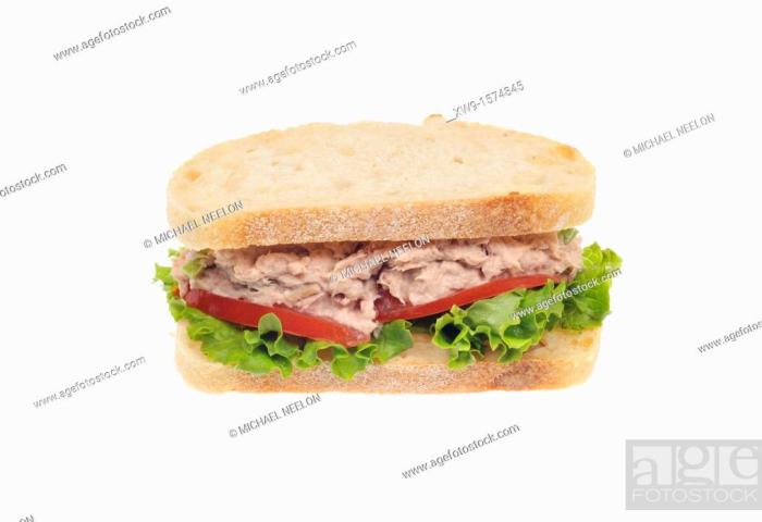 Tuna Salad Sandwich With Mayo On White Bread With Lettuce And Tomato