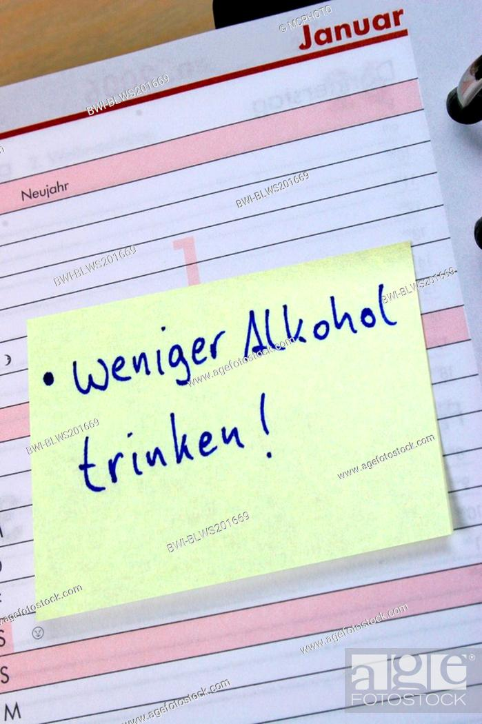 memo with  less alcohol  label in diary  New Year intention  Stock     Stock Photo   memo with  less alcohol  label in diary  New Year intention