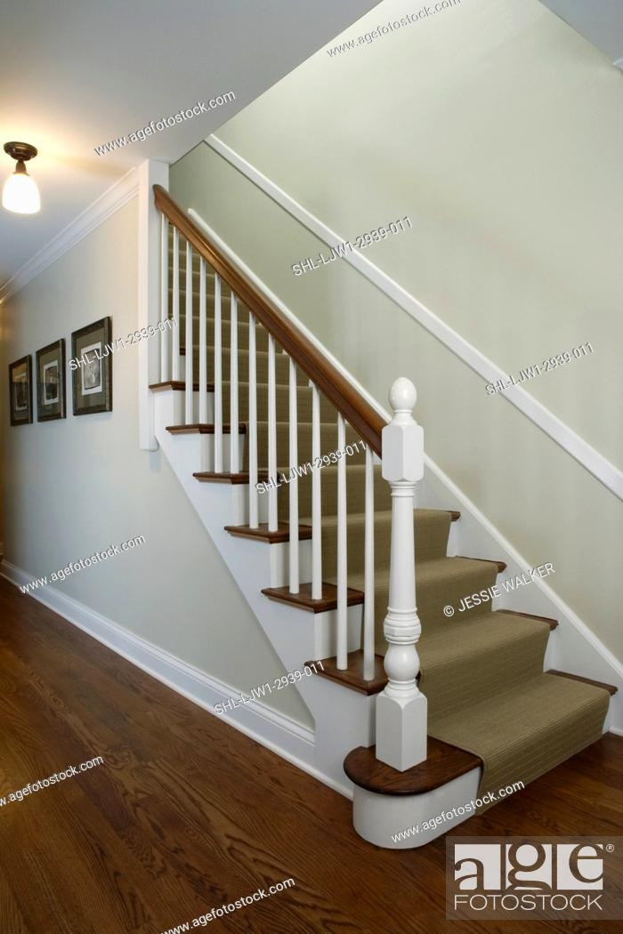 Stairs Traditonal Home Pale Green Walls White Wood Trim Chair | Chair Rail On Stairs | Double | Traditional | Stained Wood | Remodeling | Wainscoting