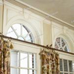 Window Treatments Palladian Windows Above Pastoral Printed Curtains Stock Photo Picture And Rights Managed Image Pic Shl Ljw1 2985 006 Agefotostock