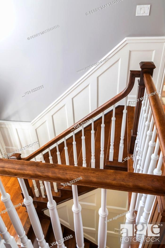 Cherry Wood Staircase And Railings With White Spindles On The   Oak Handrail White Spindles   Stair Square Spindle   Staircase   Switchback Stair   Goes Golden Oak Staircase   Replacement
