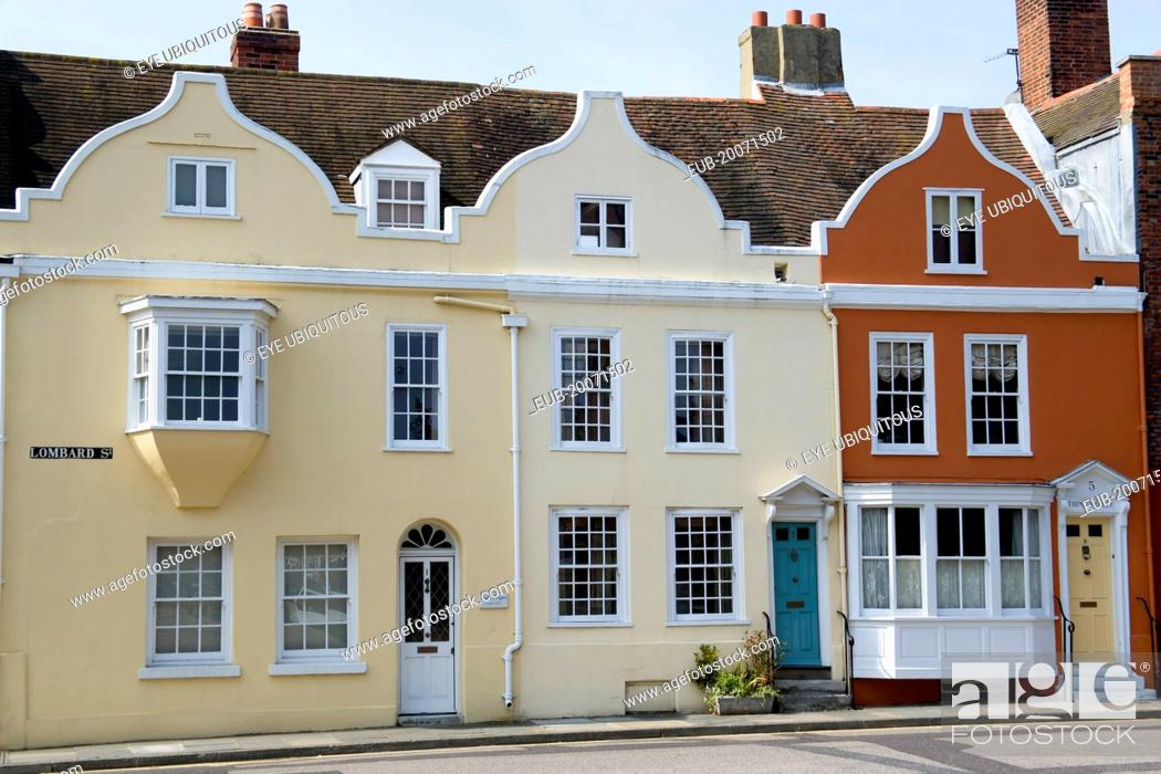 https www agefotostock com age en details photo a row of three 17th century houses in lombard street in old portsmouth with dutch style gables eub 20071502