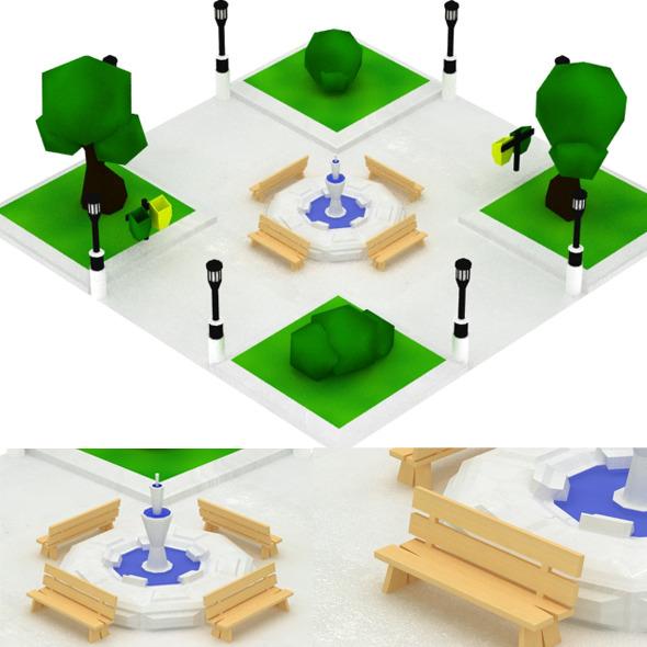 Low Poly Mini Park Set
