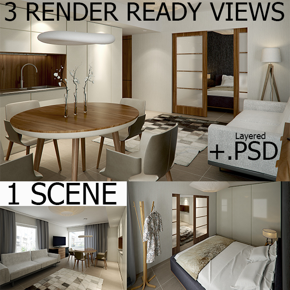 Interior Vray Scene with 3 RenderReady Views + PSD
