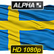 Isolated Waving National Flag Of Sweden