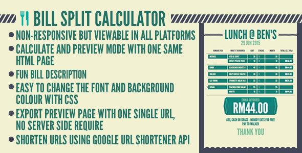 Bill Carve up Calculator - PHP Script Download 1