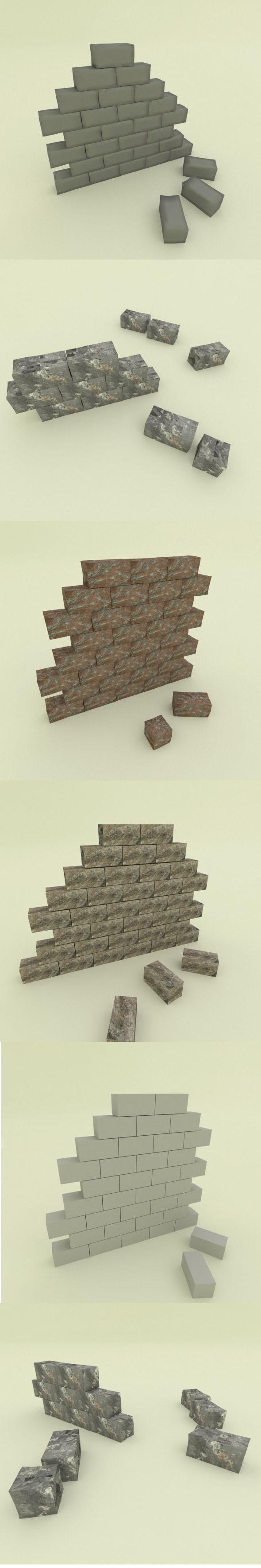 5 stone wall segments