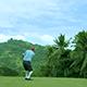 Old Man Slices Golf Ball