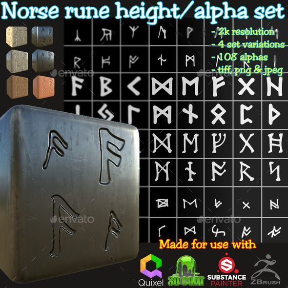 Ancient Norse Rune Height/Alpha Brushes/Stamp/Decal Set