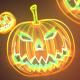 Neon Halloween Pumpkin Background