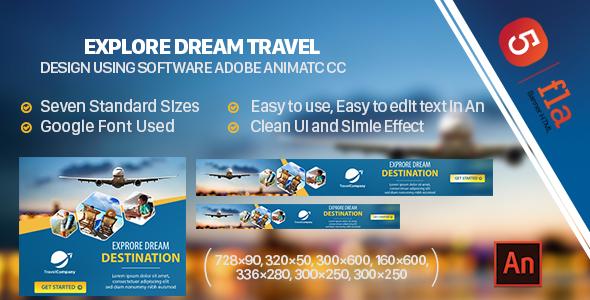 Explore Dream Commute Banner Ad HTML5 (Animate CC) - PHP Script Download 1