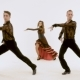 Three Professional Ballet Dancers, Retro Dance in Studio, on White Background.