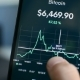Looking at Bitcoin Downtrend 2018 Bear Market on Smartphone Cryptocurrency App