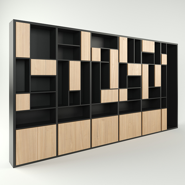 Modern wide 6-section cabinet bookcase